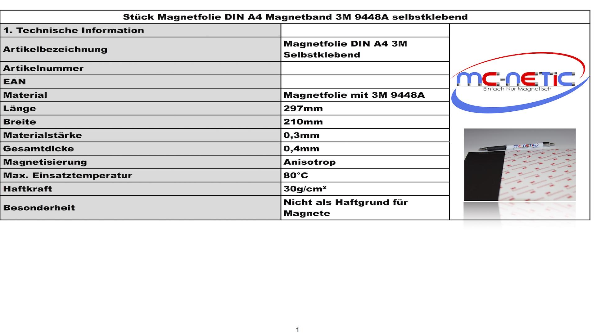 Magnetfolie selbstklebend 620mm x Meterware x 0,4mm Magnetfolien Magnetband